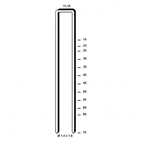 5 000 agrafes galvanisées 12 microns Z-60 - 11,1 x 60 x D. 1,4 x 1,6 mm - 6Z-601CE - Alsafix