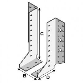 Sabot de charpente à ailes extérieures à 2 éléments (PxlxHxép) 80 x 30 x 148 x 2,0 mm - AL-2SE30148 - Alsafix