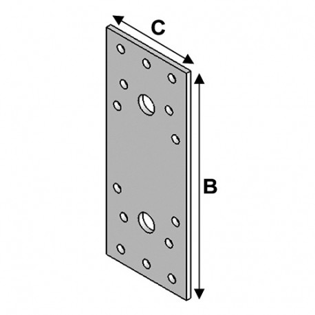 Connecteur plat avec trous (L x l x ép) 135 x 55 x 3,0 mm - AL-CP135055 - Alsafix