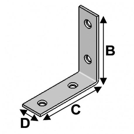 Equerre de chaise (H x L x l x ép) 60 x 60 x 20 x 2 mm - AL-EC060060 - Alsafix