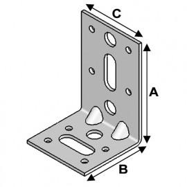 Equerre avec renforts (H x L x l x ép) 85 x 55 x 55 x 2,5 mm - AL-ER08050525 - Alsafix