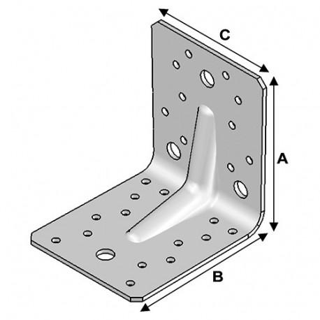 Equerre avec renforts (H x L x l x ép) 105 x 105 x 90 x 3,0 mm - AL-ER10100930 - Alsafix