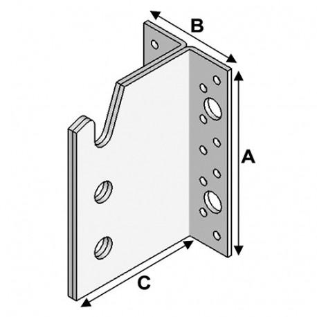 Etrier (H x L x l x ép) 160 x 104 x 62 x 0,5 mm - AL-ETRIER160 - Alsafix