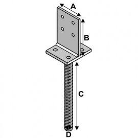 Pied de poteau à ancrer type PAT-20 (A x B x C x D x ép) 80 x 120 x 250 x 20 x 8,0 mm - AL-PAT20 - Alsafix