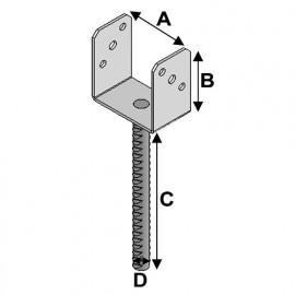 Pied de poteau à ancrer type PAU (A x B x C x D x ép) 141 x 110 x 250 x 20 x 4,0 mm - AL-PAU141 - Alsafix