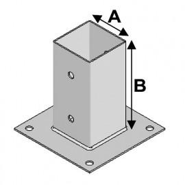 Pied de poteau de jardin 71 à boulonner (A x B x ép) 71 x 150 x 2,5 mm - AL-PJB71 - Alsafix