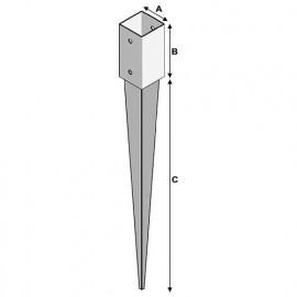 Pied de poteau de jardin 71 à enfoncer (A x B x C x ép) 71 x 150 x 600 x 2,2 mm - AL-PJE71 - Alsafix