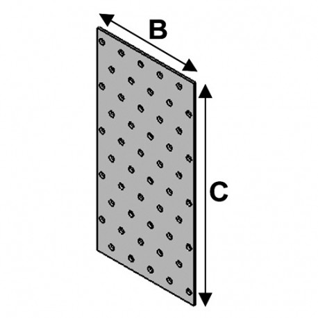 Plaque perforée (l x L x ép) 80 x 200 x 2,0 mm - AL-PP080200 - Alsafix