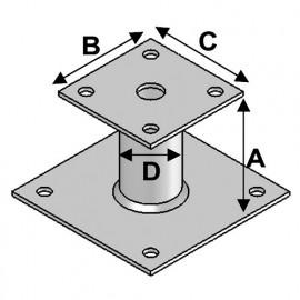 Pied de poteau avec platine type PP-150 (A x B x C x D x ép) 150 x 90 x 80 x 42 x 4,0 mm - AL-PP150 - Alsafix