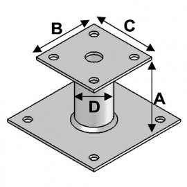 Pied de poteau avec platine type PP-60 (A x B x C x D x ép) 60 x 90 x 80 x 42 x 4,0 mm - AL-PP60 - Alsafix