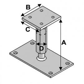 Pied de poteau réglable avec platine type PPR-190 (A x B x C x D x ép) 140-220 x 80 x 90 x M20 x 8/5 mm - AL-PPR190 - Alsafix