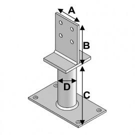 Pied de poteau avec platine type PPT-100 (A x B x C x D x ép) 80 x 120 x 100 x 48 x 8,0 mm - AL-PPT100 - Alsafix