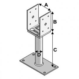 Pied de poteau réglage avec platine type PPULR-150 (A x B x C x D x ép) 80-160 x 120 x 150 x 38 x 5,0 mm - AL-PPULR150 - Alsafix