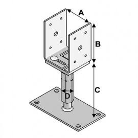 Pied de poteau réglable avec platine PPUR-80 (A x B x C x D x ép) 80-160 x 120 x 140-220 x M20 x 5,0 mm - AL-PPUR80 - Alsafix