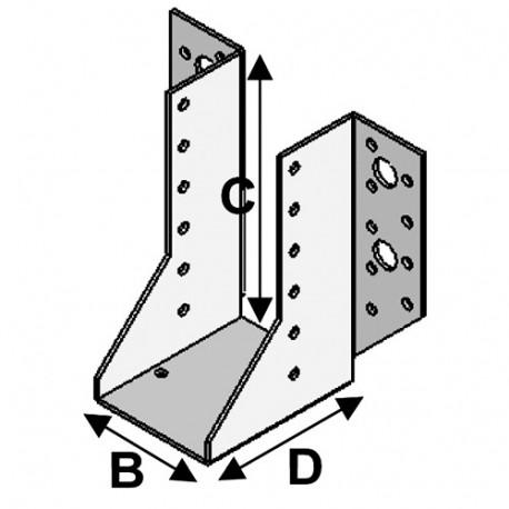 Sabot de charpente à ailes extérieures (P x l x H x ép) 80 x 100 x 140 x 2,0 mm - AL-SE100140 - Alsafix