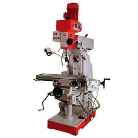 Fraiseuse verticale métal inclinable et horizontale D.50 mm 2 vitesses 400 V 1400, 800 et 2200 W - BF 500D HOLZMANN