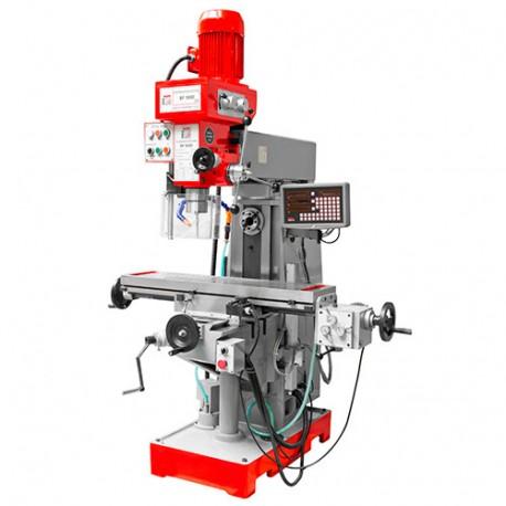 Fraiseuse verticale métal inclinable et horizontale numérique D.50 mm 2 vitesses 400 V 1400, 800 et 2200 W - BF 500DDRO HOLZMANN