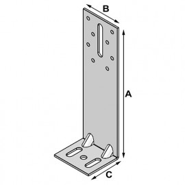 100 équerres d'isolation (H x L x l x ép) 120 x 60 x 54 x 2,5 mm - AL-EI12060525 - Alsafix