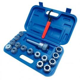 Coffret de 15 pinces de 3 à 25 mm ER40 + mandrin ISO40 - SZSISO40ER40 - HOLZMANN