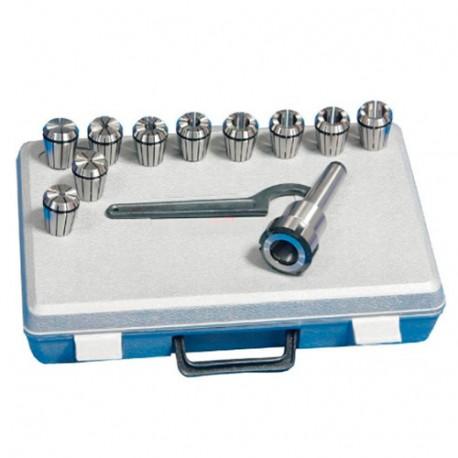 Coffret de 12 pinces de 3 à 20 mm M10 + mandrin MK2/MT2/CM2 - SZSMK2 - HOLZMANN