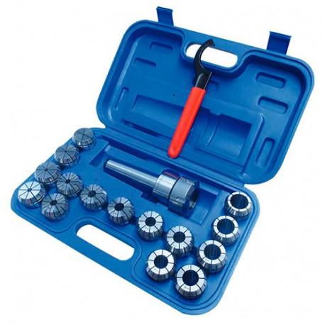 Coffret de 15 pinces de 3 à 25 mm ER40 + mandrin MK3/MT3/CM3 - SZSMK3ER40 - HOLZMANN
