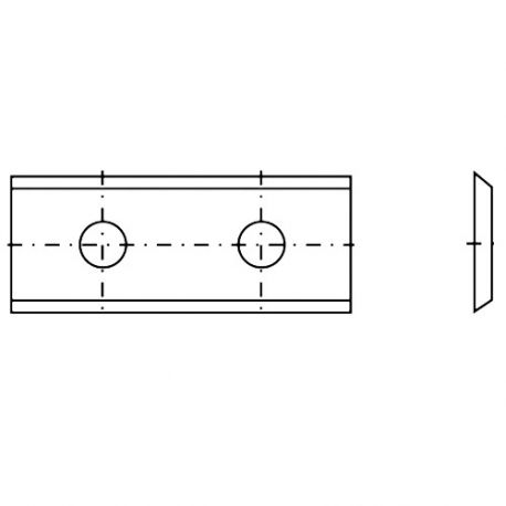 Plaquette réversible carbure K05 2 coupes 50 x 12 x 1,5 mm 35° - 012006 DIAMWOOD