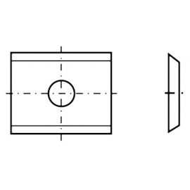 Plaquette réversible carbure K05 2 coupes 20 x 12 x 1,5 mm 35° - Diamwood