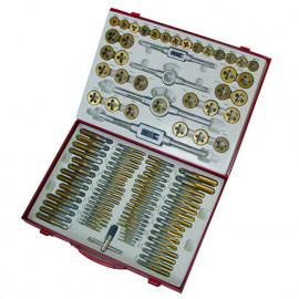 Coffret 110 tarauds et filières métriques HSS TiN - GBM110TIN - Holzmann