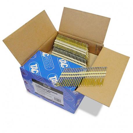 Boîte de 3000 clous à tête ronde, filetés extra galvanisés en bande plastique 22° D. 3,1 x 90 mm - Tacwise - 0436