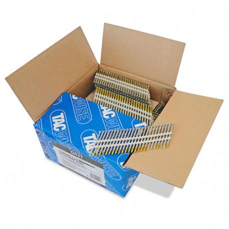 Boîte de 3000 clous à tête ronde, filetés extra galvanisés en bande plastique 22° D. 3,3 x 65mm - Tacwise - 0437