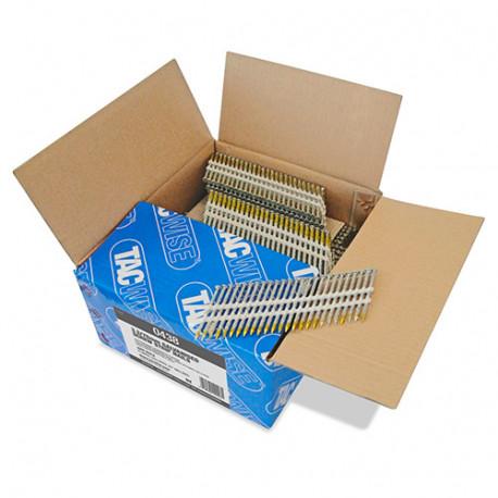 Boîte de 3000 clous à tête ronde, filetés extra galvanisés en bande plastique 22° D. 3,3 x 75mm - Tacwise - 0438