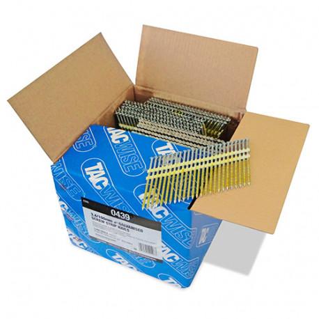 Boîte de 3000 clous à tête ronde, filetés extra galvanisés en bande plastique 22° D. 3,4 x 100 mm - Tacwise - 0439