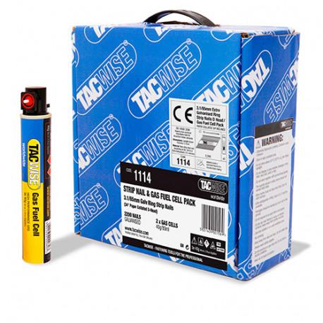 2200 clous annelés extra galvanisés en bande 34° D. 3,1 x 65 mm + 2 cartouches de gaz 80 ml - Tacwise - 1114