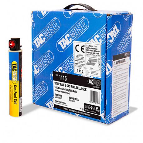 2200 clous annelés extra galvanisés en bande 34° D. 3,1 x 75 mm + 2 cartouches de gaz 80 ml - Tacwise - 1115
