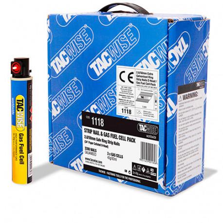 3300 clous annelés extra galvanisés en bande 34° D. 2,8 x 50 mm + 3 cartouches de gaz 80 ml - Tacwise - 1118