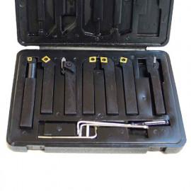 Coffret 7 outils de tournage métal 12 x 12 mm à plaquettes - HS-DM12 - Métalprofi