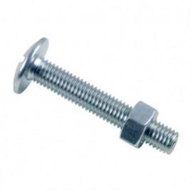 Boulon poêlier tête ronde large fendue en croix 5 x 60 mm Zingué - Boite de 200 pcs - fixtout BRL0506002B