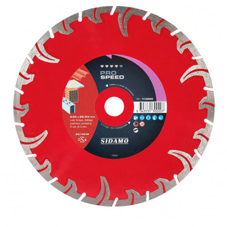 Disque diamant PRO SPEED D. 115 x 22,23 x H 7,5 mm Tuile / Brique - 11130018 - Sidamo