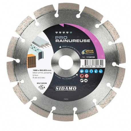 Disque diamant PRO RAINUREUSE D. 150 x 22,23 x H 10 mm Béton / béton armé - 11130133 - Sidamo