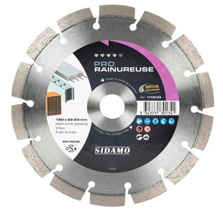 Disque diamant PRO RAINUREUSE D. 180 x 22,23 x H 10 mm Béton / béton armé - 11130134 - Sidamo