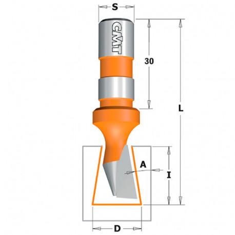 Fraise à queue d'aronde 9° 1 tranchant D. 14 x Lu. 18 x Q. 12 mm - 522.140.11 - CMT