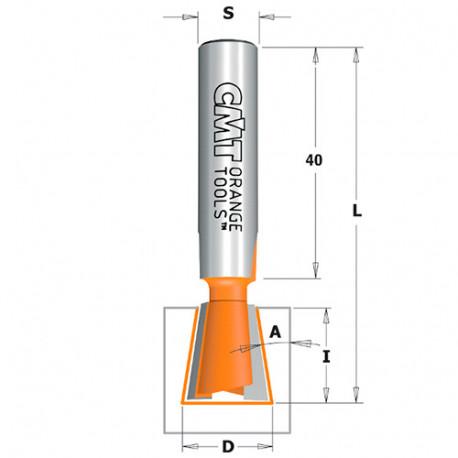 Fraise à queue d'aronde 9° 2 tranchants D. 14 x Lu. 16 x Q. 10 mm - 523.140.11 - CMT