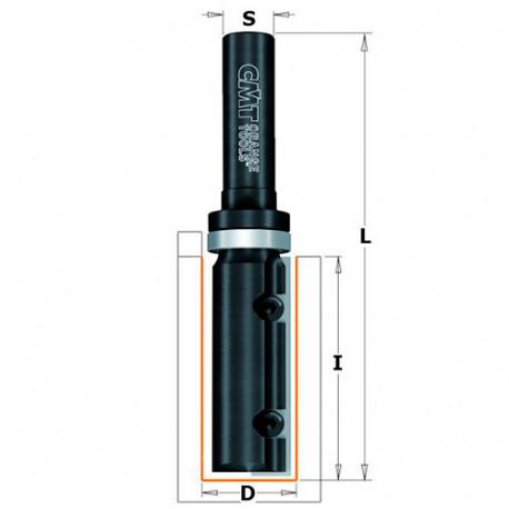 Fraise à affleurer avec plaquettes réversibles 1 tranchant D. 19 x Lu. 49,5 x Q. 12 mm - 652.690.11B - CMT