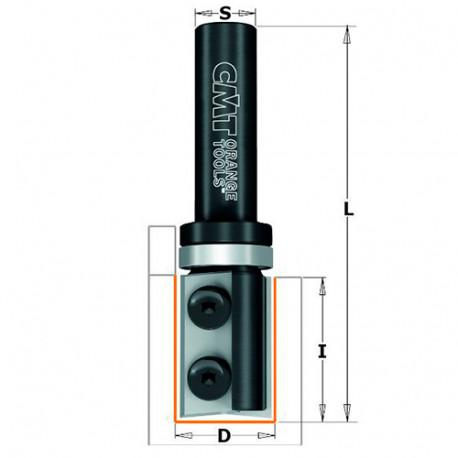 Fraise à affleurer avec plaquettes réversibles 2 tranchants D. 19 x Lu. 28,3 x Q. 8 mm - 656.190.11 - CMT