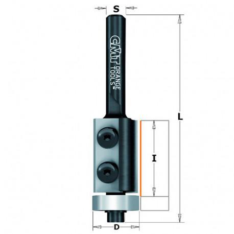 Fraise à affleurer avec plaquettes réversibles 2 tranchants D. 19 x Lu. 12 x Q. 8 mm - 657.190.11 - CMT