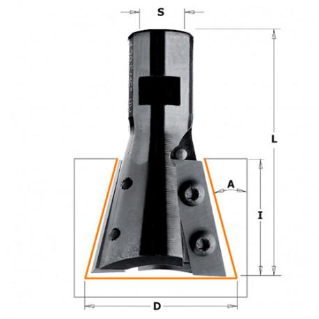 Fraise à queue d'aronde 15° et plaquettes réversibles D. 39,5 x Lu. x 31,5 Q. M12x1 mm - 664.395.11 - CMT