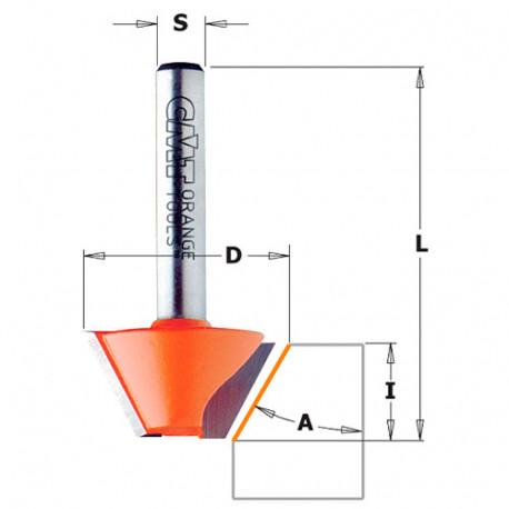 Fraise à chanfreiner 2 tranchants 15° D. 24 mm x Lu. 14 x Q. 8 mm - 903.240.11 - CMT