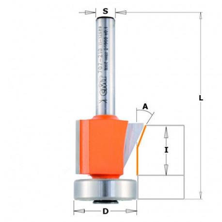 Fraise à chanfreiner et affleurer 2 tranchants 0 - 25° D. 19 - 24,5 mm x Lu. 16 (10+6) x Q. 8 mm - 907.210.11 - CMT