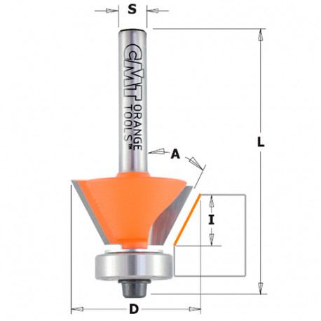 Fraise à chanfreiner et affleurer 2 tranchants 45° D. 27 mm x Lu. 5,5 x Q. 8 mm - 910.260.11 - CMT