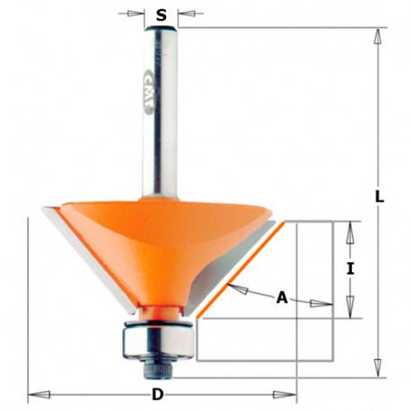 Fraise à chanfreiner avec roulement 2 tranchants 45° D. 65 mm x Lu. 26 x Q. 12 mm - 936.950.11 - CMT